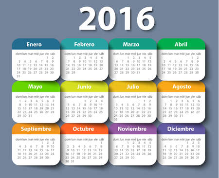 time of the year: Calendar 2016 year vector design template in Spanish.