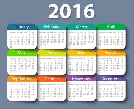 Kalender 2016 Jahre Vektor Entwurfsvorlage.