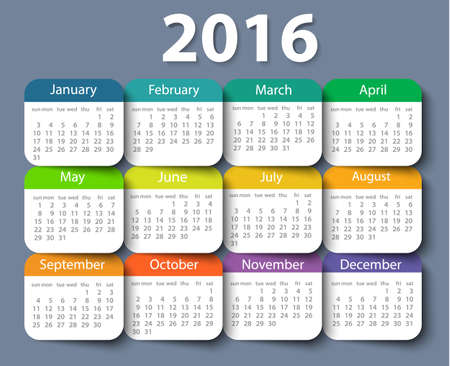 Calendar 2016 year vector design template.