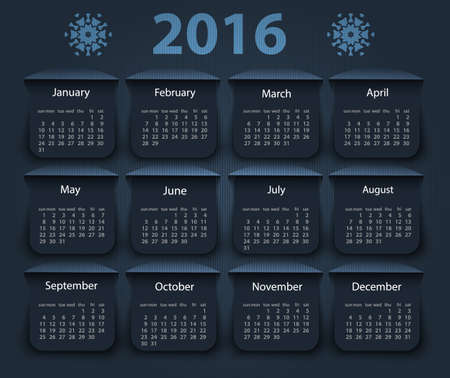 Calendar 2016 year vector design template