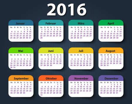 starting: Calendar 2016 year German. Week starting on Monday. eps