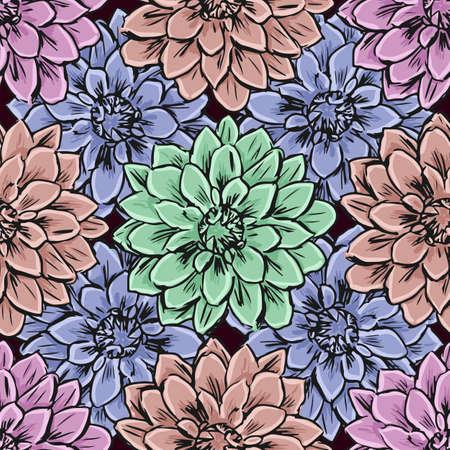convolvulus: Hand draw seamless floral pattern. Vector illustration.
