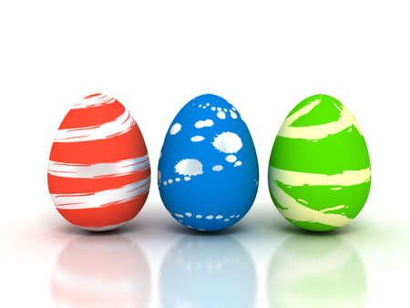 small group of objects: Easter Eggs on white - Stock image. 3d rendered Stock Photo