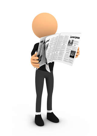 person reading: Person reading newspaper on white background. Computer generated Stock Photo