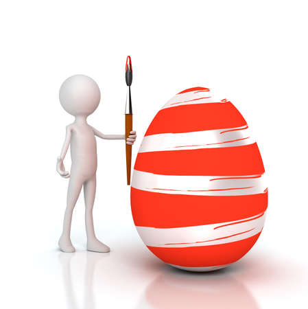 vibrant paintbrush: Person painting Easter egg with brush. Computer generated