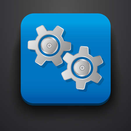 of computer graphics: Setting gear  symbol icon on blue. Vector Illustration