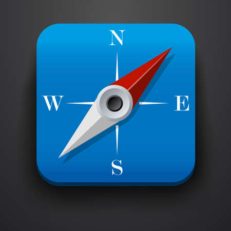 direction magnet: Compass, travel symbol icon on blue. Vector Illustration