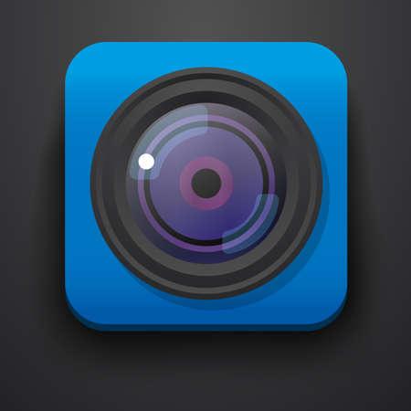 camera symbol: Photo camera symbol icon on blue. Vector