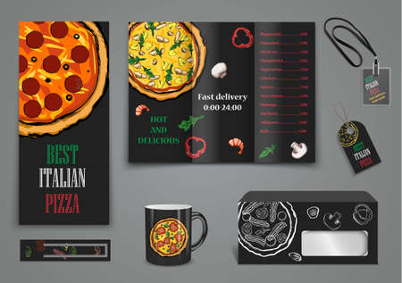 chef kitchen: pizza food menu cafe brochure. vector template Illustration