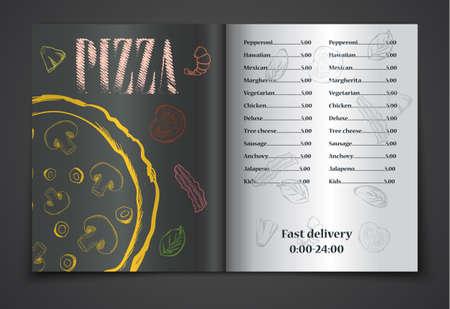 comida de pizza menú de café folleto. la plantilla de vectores