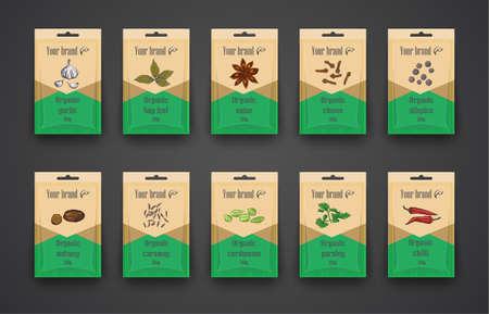 Sjabloon een set zakken met kruiden. Hand getekend