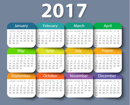calendario julio: Calendario plantilla vector 2.017 años. Vectores