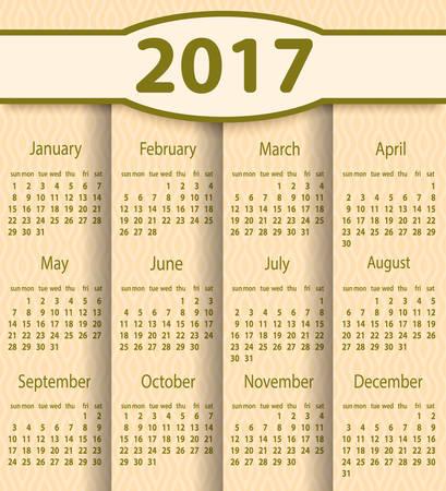 Calendario plantilla vector 2.017 años. Ilustración de vector