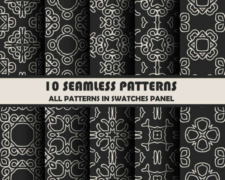 repeat pattern: vector set of geometric seamless patterns for design.