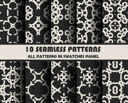 pastel colour: vector set of geometric seamless patterns for design. eps 10