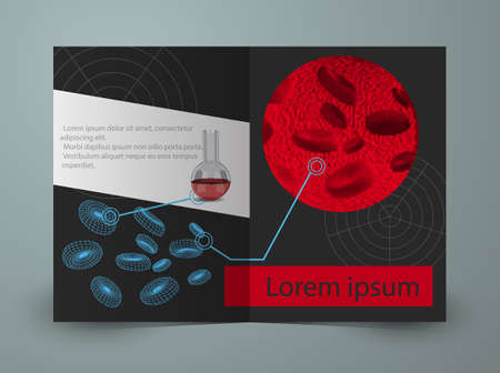 small vein: Brochure for blood research laboratory. Vector template Illustration
