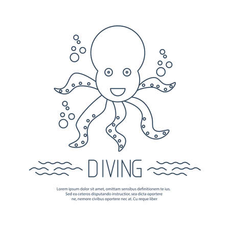 bubbles vector: Diving icon with octopus and bubbles. Vector