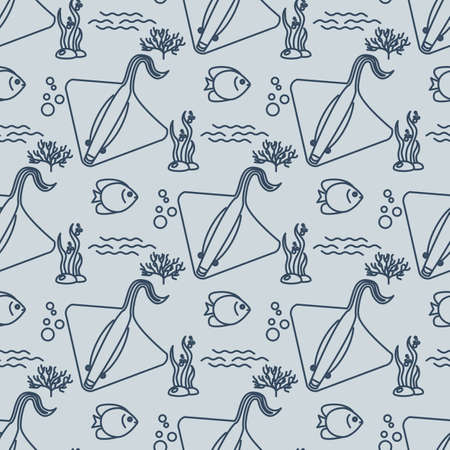 stingrays: Seamless pattern with stingrays and fishs. Vector
