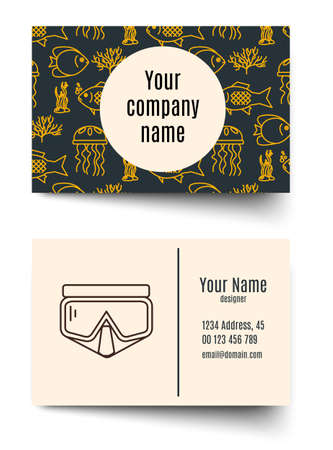 firms: Business card for diving firms. Vector template