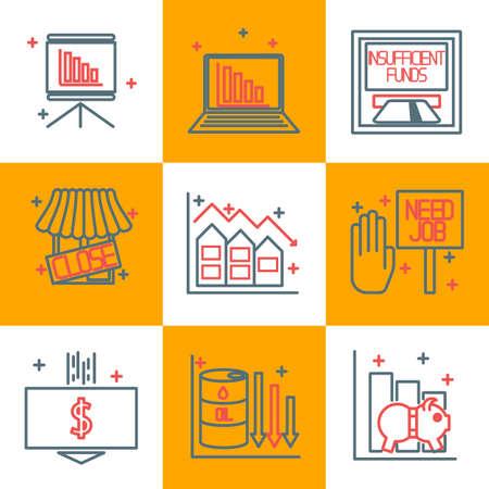 crisis: Set icons on a theme of economic crisis. Illustration