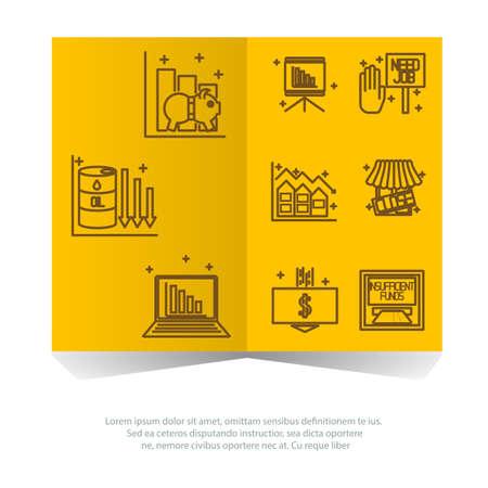 crisis economica: Conjunto de iconos sobre un tema de la crisis econ�mica. Vector Vectores