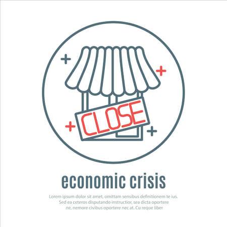 crisis economica: iconos en un tema de la crisis económica. Vector Vectores