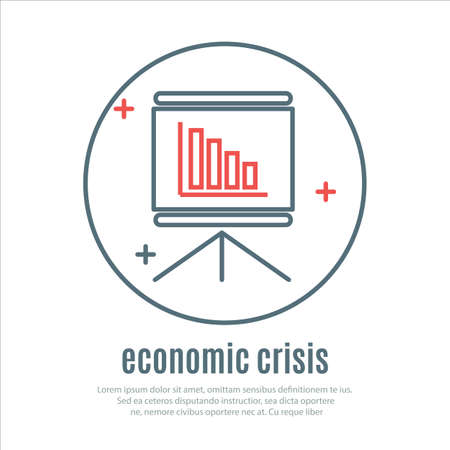 economic crisis: icons on a theme of economic crisis. Vector Illustration