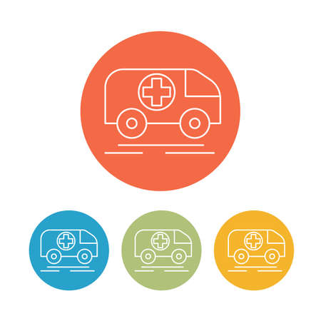 carrying the cross: Veterinary bus medicine icons set isolated. vector illustration