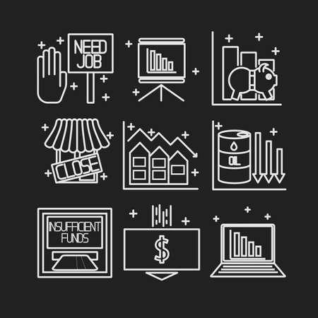 crisis economica: Conjunto de iconos sobre un tema de la crisis económica. Vector Vectores