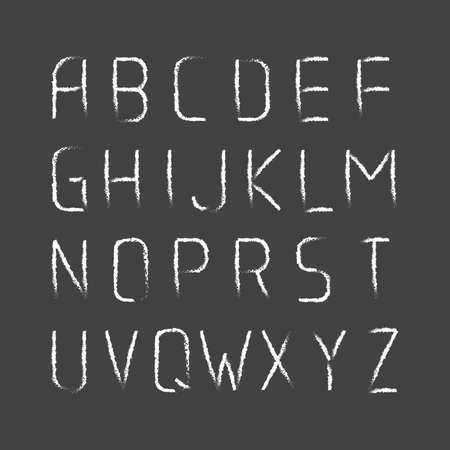 english letters: English modern letters set over black. Vector Illustration