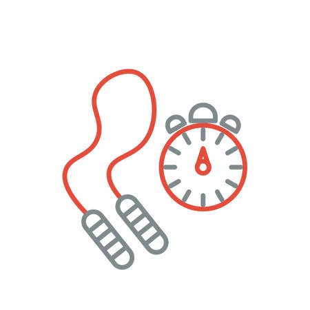 skipping: Skipping rope and stopwatch icons. Vector illustration