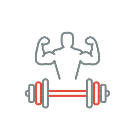brawn: Fitness line art icon for your design. Vector illusration