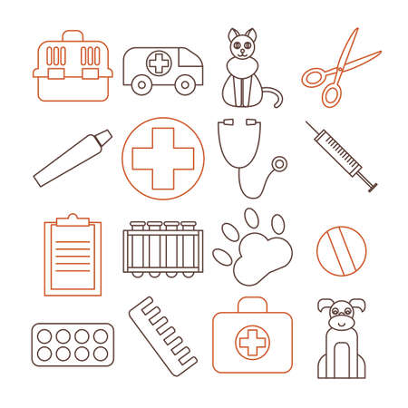 health care and medicine: Veterinary pet health care animal medicine icons set isolated. vector illustration