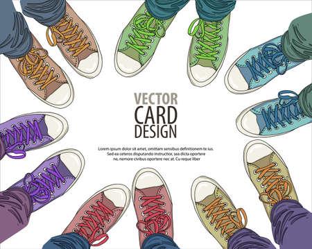 어떤 색상의 고무 덧신에 청바지 다리입니다. 청소년 패션. 팀웍과 우정 개념입니다.