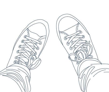 jambes avec un jean en gumshoes. la mode des jeunes.