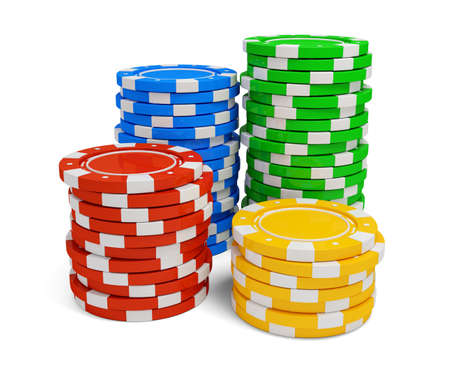 casino chip: Stack of casino chip isolated on white background. 3d rendered illustration