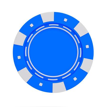 single blue casino chip isolated on white background. 3d rendered illustration Reklamní fotografie