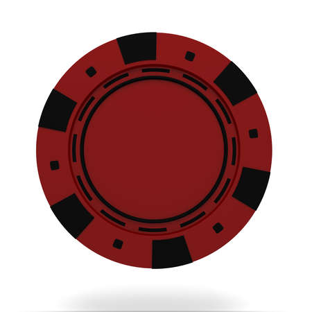 casino chip: single red casino chip isolated on white background. 3d rendered illustration Stock Photo