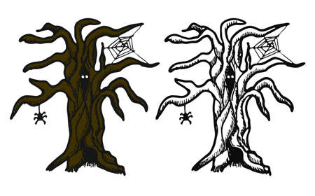 dead tree: Hand drawn doodle Halloween tree. Black pen objects and color drawing. Design illustration for poster, flyer over white background. Illustration