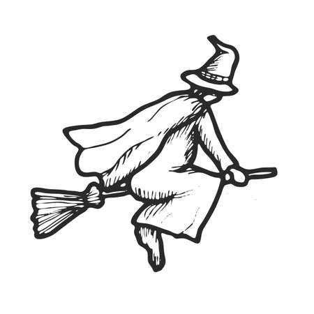 hand drawn doodle halloween witch black pen objects drawing