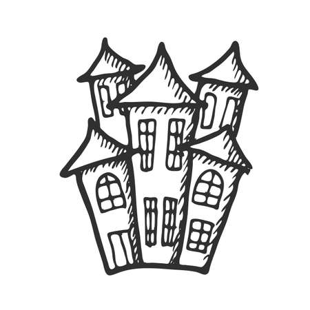 Hand drawn doodle Halloween castle. Black pen objects drawing. Design illustration for poster, flyer over white background.