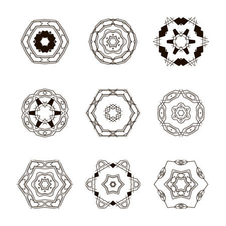stars and symbols: templates set. Abstract circle creative signs and symbols. Circles, plus signs, stars, triangle, hexagons and other design elements.