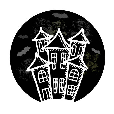 stronghold: Hand drawn doodle Halloween castle. Black pen objects drawing. Design illustration for poster, flyer over white background.