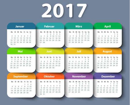 Calendar 2017 year German. Week starting on Monday. Vektoros illusztráció