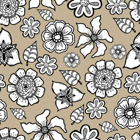 ornate background: Ornate floral pattern with flowers. Doodle sharpie background. template for card, poster, leaflet. seamless