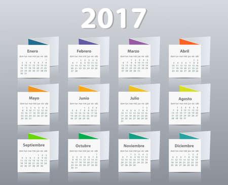 Calendar 2017 year vector design template in Spanish. Ilustrace