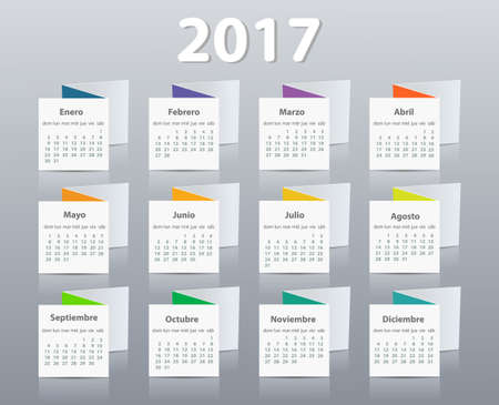Calendar 2017 year vector design template in Spanish. Illustration