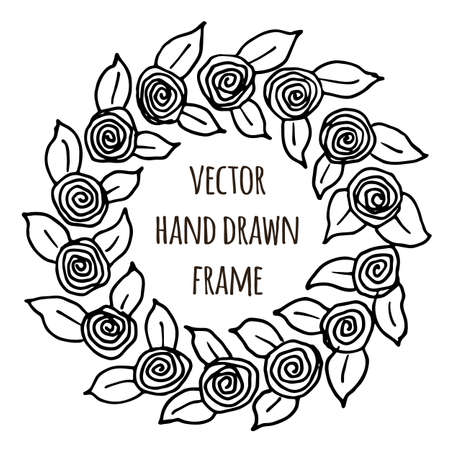 floral elements: Hand drawn wreath made in vector. Leaves garlands. Romantic floral design elements for flyer and broshure design
