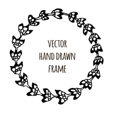 broshure: Hand drawn wreath made in vector. Leaves garlands. Romantic floral design elements for flyer and broshure design