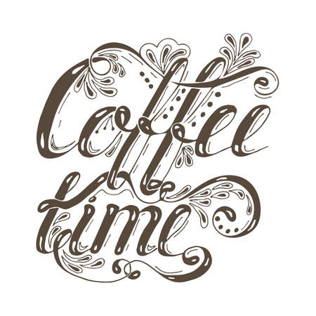 Hand drawn typography lettering phrase coffee time isolated on the white background. Fun calligraphy for typography greeting and invitation card or t-shirt print design